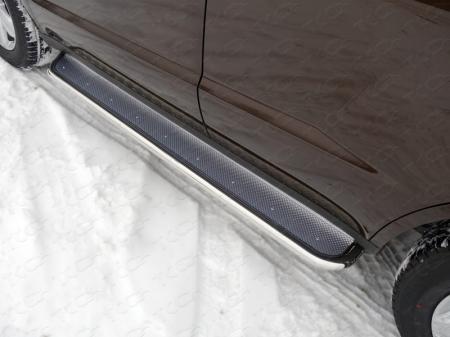 Geely Emgrand X7 2015- Пороги с площадкой (нерж. лист) 42,4 мм